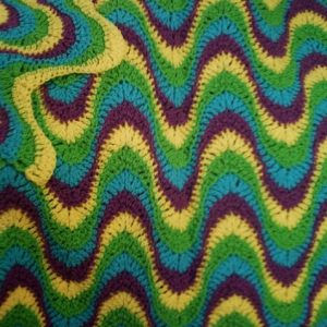 "Crochet Pattern Gl PDF File for Multi-Colored, Exaggerated Ripple 54"" x  63"" Afghan"