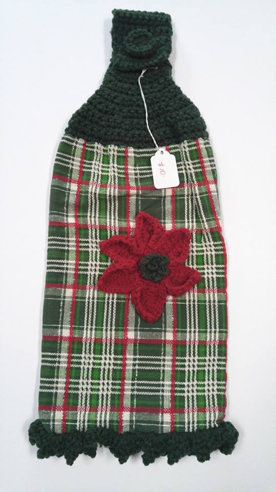 Poinsettia and Plaid Stove Towel