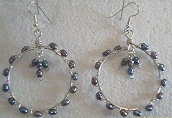 SOLD--Peacock Pearl and Sterling Silver Hoop Dangle Earrings - See more at: http://glccraftmall.mintbig.com/index.php?route=product/product&product_id=418#sthash.4Z6GdT4m.dpuf